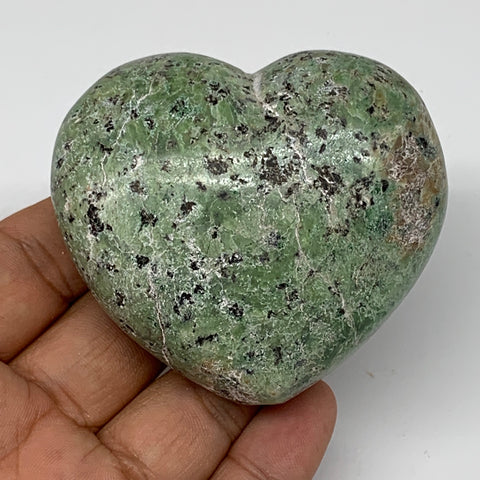 "157.2g,2.4""x2.6""x1.2"" Natural Green Chrysoprase Heart Crystal Reiki Energy,B4775"