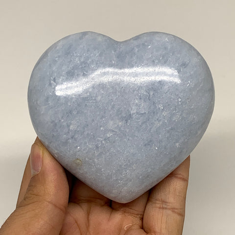 "270.6g,2.8""x3""x1.3"" Blue Calcite Heart Gemstones Reiki Energy @Madagascar,B2193"