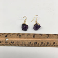 "34cts, 1.4"" Gorgeous Natural Rough Amethyst Gold Plated Earrings @Brazil,BE256"