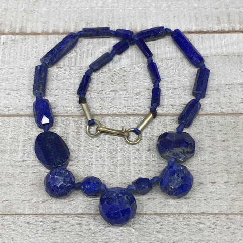 47.4g,8mm-25mm, Natural Lapis Lazuli Facetted Beads Strand,22 Beads,LPB284