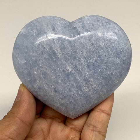 "234.4g,2.9""x3.3""x1"" Blue Calcite Heart Gemstones Reiki Energy @Madagascar,B2196"