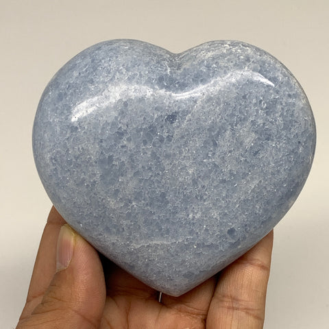 "299.7g,3""x3.3""x1.3"" Blue Calcite Heart Gemstones Reiki Energy @Madagascar,B2197"