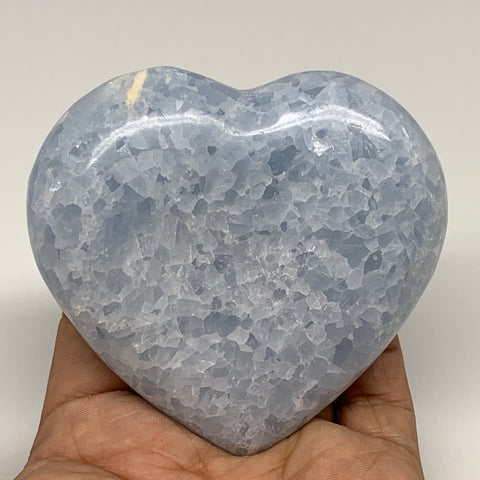 "256.2g,3.1""x3.2""x1"" Blue Calcite Heart Gemstones Reiki Energy @Madagascar,B2198"