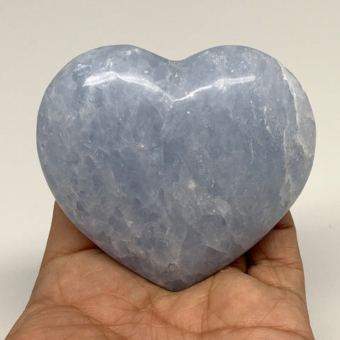"193.1g,2.8""x2.9""x1"" Blue Calcite Heart Gemstones Reiki Energy @Madagascar,B2199"