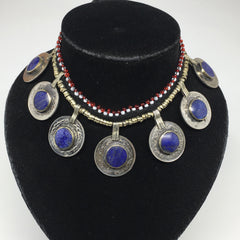 Handmade Afghan Turkmen Tribal Coin Round Lapis Lazuli Inlay Choker necklace