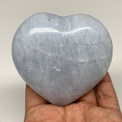"307.6g,3""x3.1""x1.5"" Blue Calcite Heart Gemstones Reiki Energy @Madagascar,B2200"