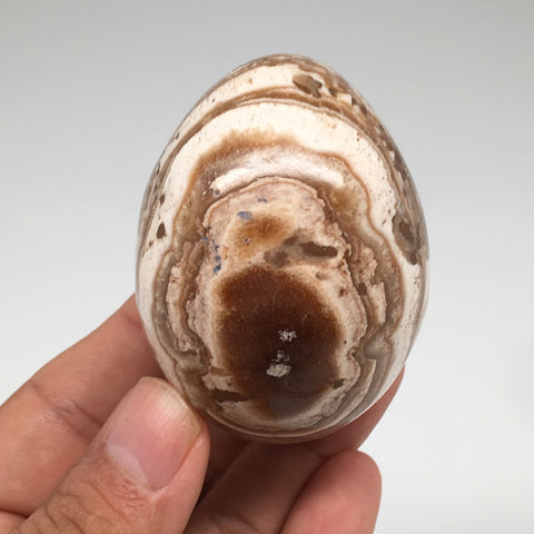"150.7g, 2.4""x 1.8"" Natural Banned Aragonite Polished Egg from Morocco, MF3265"