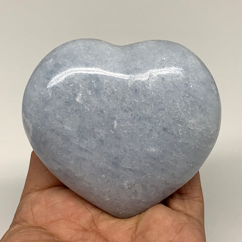 "275.1g,2.9""x3""x1.3"" Blue Calcite Heart Gemstones Reiki Energy @Madagascar,B2203"