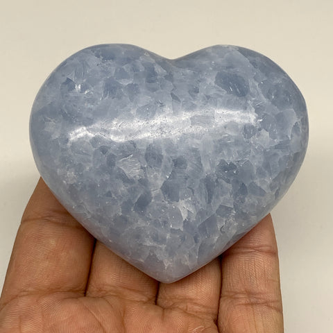 "193.7g,2.5""x2.8""x1.2"" Blue Calcite Heart Gemstones Reiki Energy @Madagascar,B220"