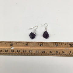 "26cts,1.4""Gorgeous Natural Rough Amethyst Silver Plated Earring @Brazil,BE267 - watangem.com"