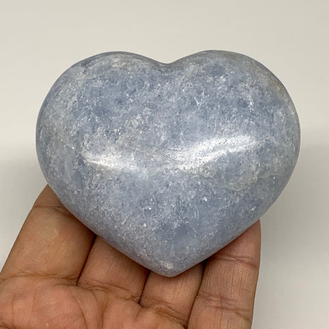 "206.1g,2.6""x2.9""x1.1"" Blue Calcite Heart Gemstones Reiki Energy @Madagascar,B220"
