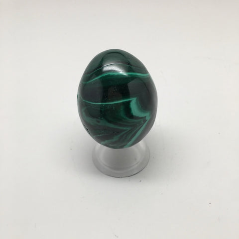 138.4 Grams Shiny Glassy Polished Green Natural Malachite Egg from Congo,D806
