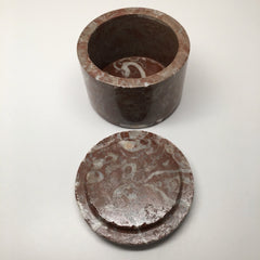 "534g, 2.5""x3.4"" Round Shape Fossils Ammonite Red Jewelry Box @Morocco, MF1016 - watangem.com"