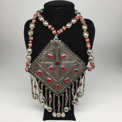 Old Vintage Afghan Tribal Huge Turkmen Marquise Pendant Necklace beaded, TN255