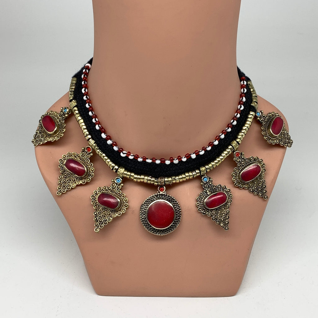 Turkmen Choker Necklace Vintage Afghan Red Coral Inlay Kuchi Boho ATS Choker CN1