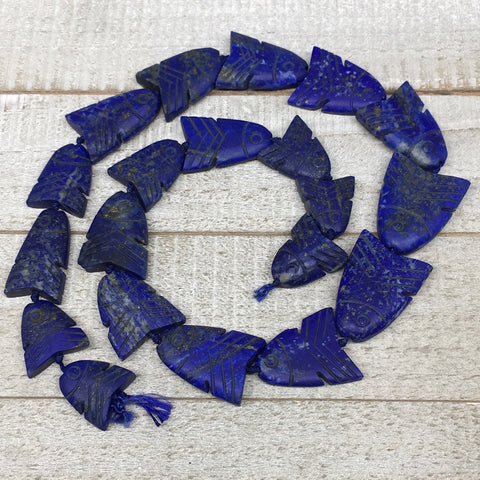 "120.9g,19mm-33mm, Natural Lapis Lazuli Fish Shape Beads Strand,20"" Beads,LPB317"