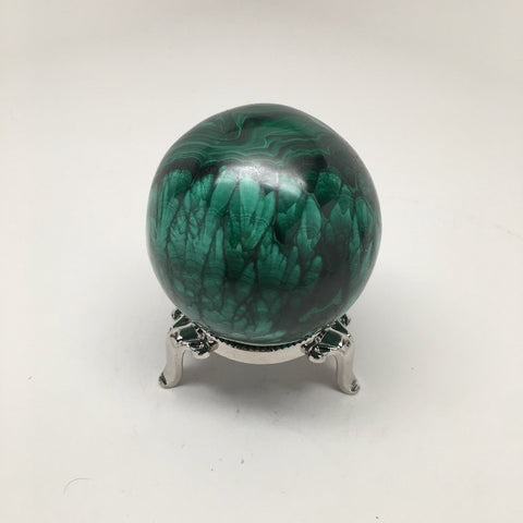 441.6 Grams Shiny Glassy Polished Green Natural Malachite Sphere @Congo,D831 - watangem.com