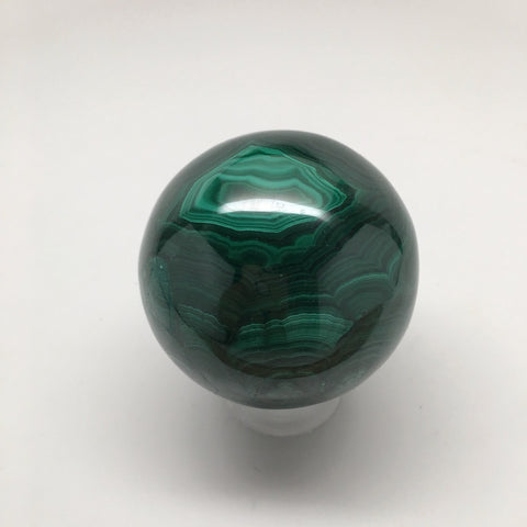 498 Grams Shiny Glassy Polished Green Natural Malachite Sphere @Congo,D838 - watangem.com