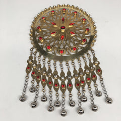 Large Afghan Turkmen Pendant Round Golden Color Bells Statement Boho Kuchi,TN264 - watangem.com