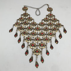 Afghan Turkmen Necklace Teardrop Dangle Golden Statement Kuchi Necklace,TN267