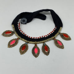 Turkmen Choker Vintage Afghan Kuchi Tribal  Pink Jade Inlay Choker Necklace CN26