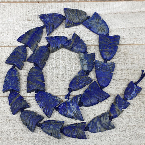 "105.2g,17mm-27mm, Natural Lapis Lazuli Fish Beads Strand, 24 Beads,22"" LPB354"
