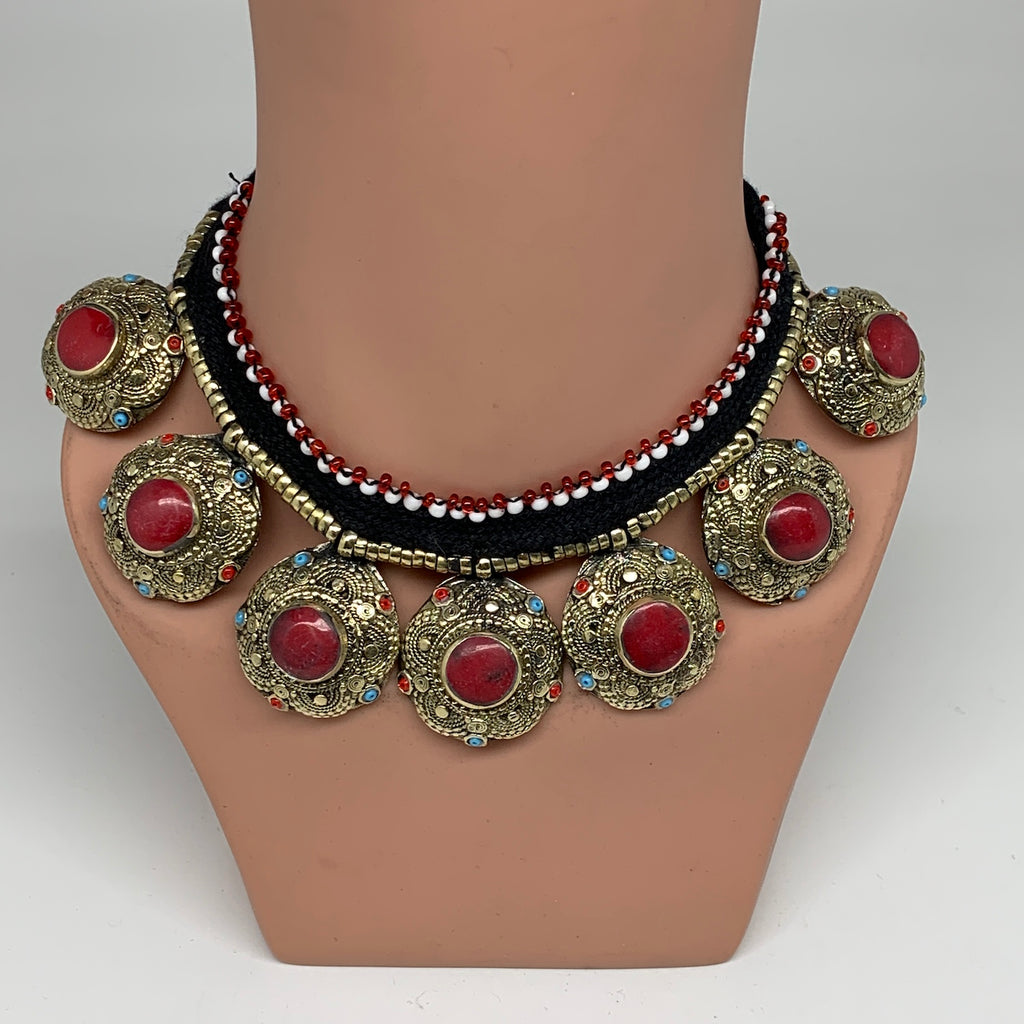 Turkmen Choker Vintage Afghan Kuchi Tribal Red Coral Inlay Choker Necklace CN276