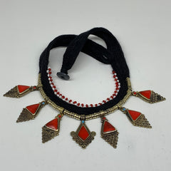 Turkmen Choker Vintage Afghan Kuchi Tribal Red Coral Inlay Choker Necklace CN279