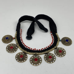 Turkmen Choker Vintage Afghan Kuchi Tribal Red Coral Inlay Choker Necklace CN281