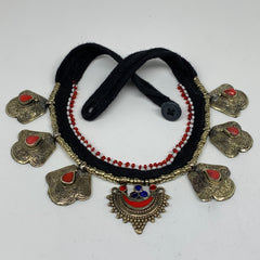 Turkmen Choker Vintage Afghan Kuchi Tribal Red Coral Inlay Choker Necklace CN283