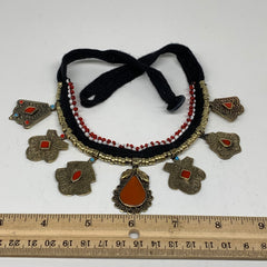Turkmen Choker Vintage Afghan Kuchi Tribal Red Coral Inlay Choker Necklace CN286