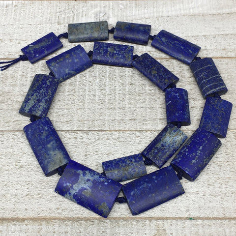 "97.1g,23mm-32mm,Natural Lapis Lazuli Rectangle Beads Strand,17 Beads,20"" LPB369"