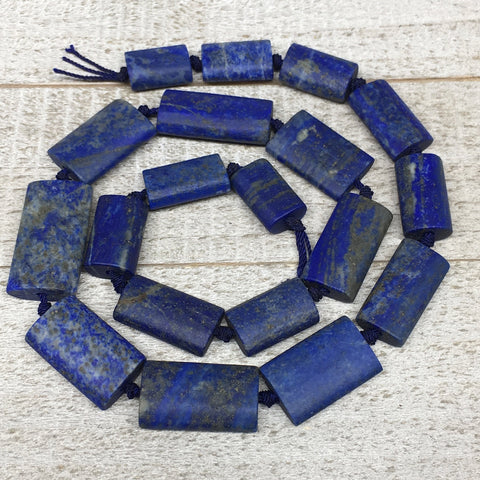 "78.6g,16mm-28mm,Natural Lapis Lazuli Rectangle Beads Strand,19 Beads,19"" LPB373"