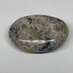 "123.4g, 2.6""x1.9""x1""Blue Quartz Palm-Stone Crystal Polished Reiki Energy,B3888"