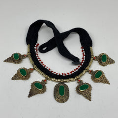 Turkmen Choker Vintage Afghan Kuchi Tribal Green Fashion Glass Choker Necklace C
