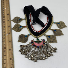 Turkmen Choker Vintage Afghan Kuchi Tribal Blue Fashion Glass Choker Necklace CN