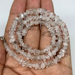 5-9mm,131 Bds,18.4g,Small Natural Terminated Diamond Quartz Beads Strand 16""