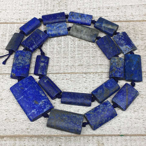 "76.8g,18mm-34mm,Natural Lapis Lazuli Rectangle Beads Strand,21 Beads,20"" LPB379"