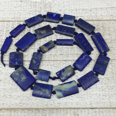 "59.8g,13mm-25mm,Natural Lapis Lazuli Rectangle Beads Strand,23 Beads,21"" LPB385"