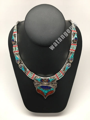 Ethnic Tribal Lapis, Turquoise & Red Coral Inlay Boho Statement Necklace,NPN91