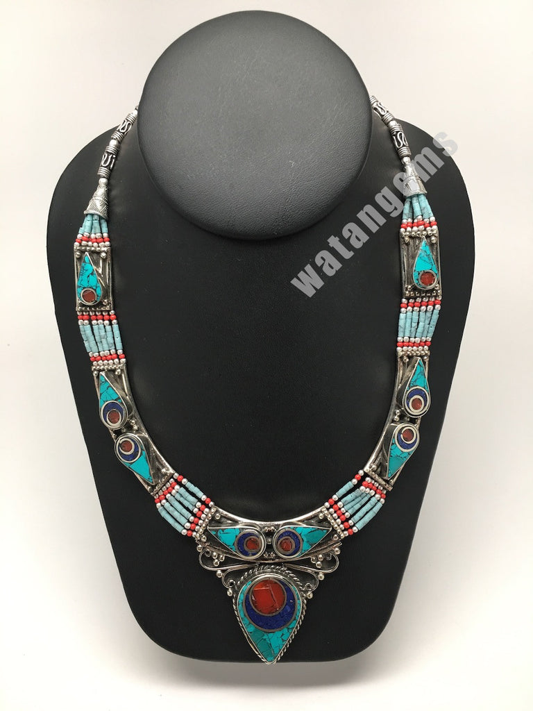 Ethnic Tribal Green Turquoise & Red Coral Inlay Boho Statement Necklace,NPN88