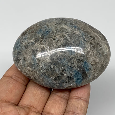"193g, 2.9""x2.3""x1.3""Blue Quartz Palm-Stone Crystal Polished Reiki Energy,B3899"