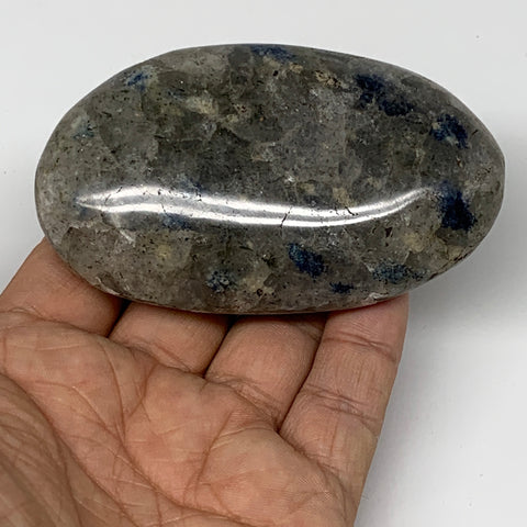 "185g, 3.4""x2""x1.1""Blue Quartz Palm-Stone Crystal Polished Reiki Energy,B3907"