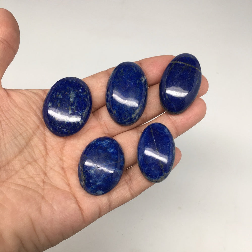 "5pcs,59.7,1.3""x1.4"" Natural Lapis Lazuli Oval Shape Cabochons @Afghanistan,CP57"