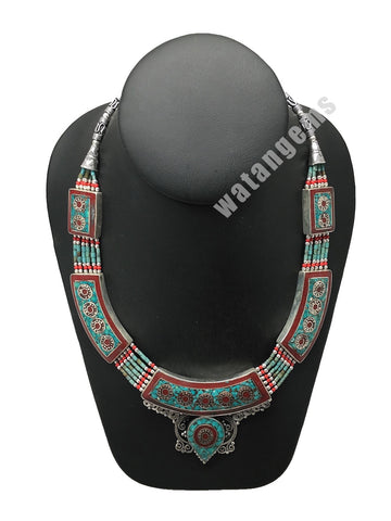 Ethnic Tribal Green Turquoise & Red Coral Inlay Boho Statement Necklace, NPN61