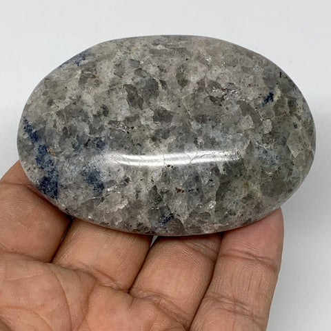 "110.5g, 2.8""x2""x0.8""Blue Quartz Palm-Stone Crystal Polished Reiki Energy,B3910"