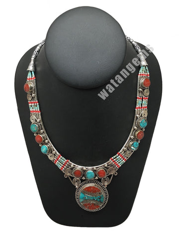 Ethnic Tribal Green Turquoise & Red Coral Inlay Boho Statement Necklace, NPN55
