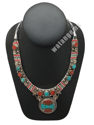 Ethnic Tribal Green Turquoise & Red Coral Inlay Boho Statement Necklace, NPN54