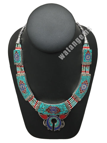 Ethnic Tribal Lapis, Turquoise & Red Coral Inlay Boho Statement Necklace, NPN51