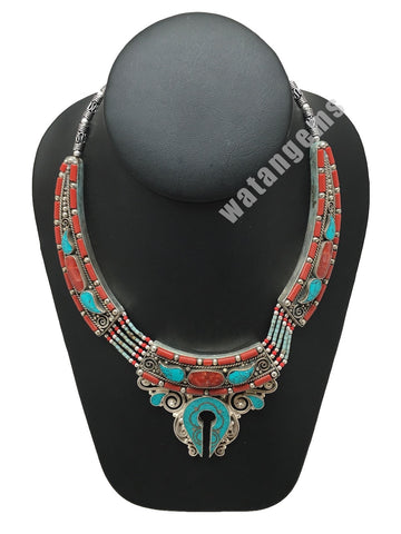 Ethnic Tribal Green Turquoise & Red Coral Inlay Boho Statement Necklace, NPN45